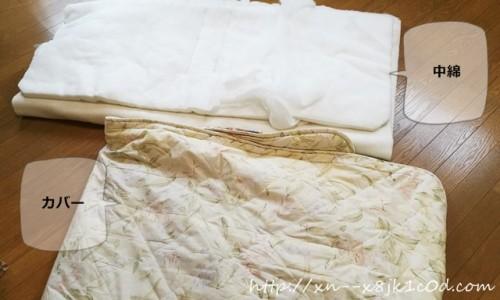 敷布団カバーと中綿が分かれたところ
