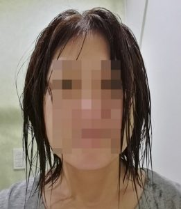 タオルドライした後の髪